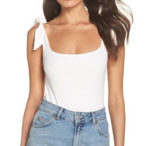 Free People Tie-Shoulder Thong Bodysuit Size M
